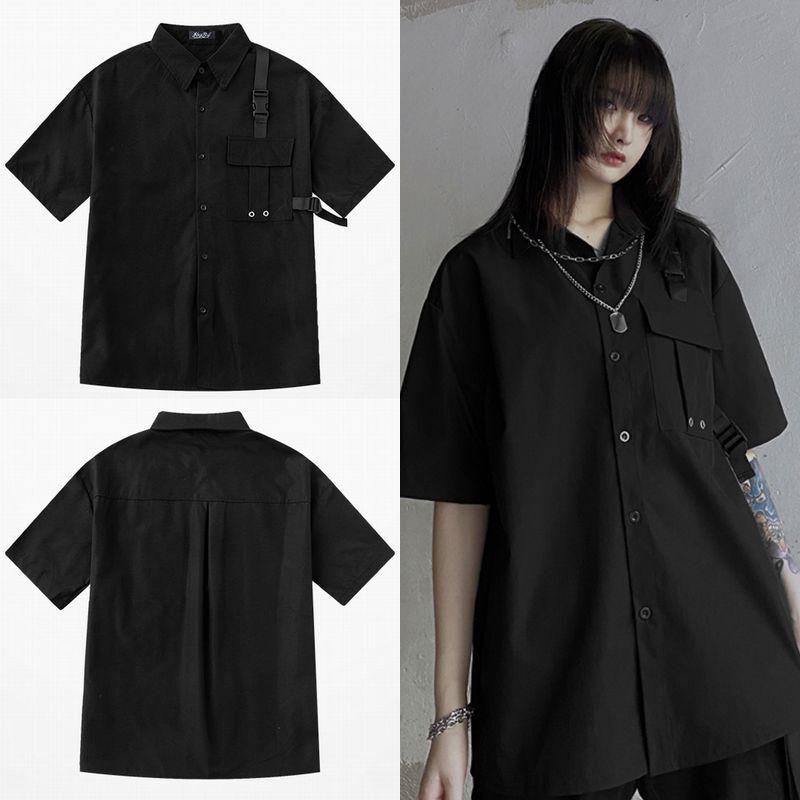 ユニセックス シャツ 半袖 メンズ レディース バックル 胸ポケット オーバーサイズ 大きいサイズ ルーズ ストリート