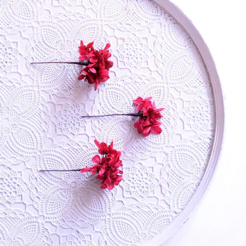 〖 ワインレッド・ピラミッドアジサイのヘッドドレスパーツ3本 〗お好きなプリザ花材をカスタムメイドでお作り致します