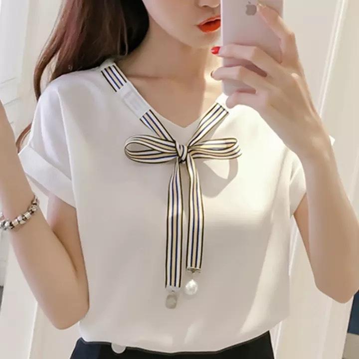 2019 クールレディーストップスとブラウスブラウスシフォンレディース韓国風 Chemisier ファムファッション服夏の服の女性 358
