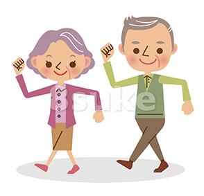 イラスト素材:元気に歩く高齢の男女(ベクター・JPG)
