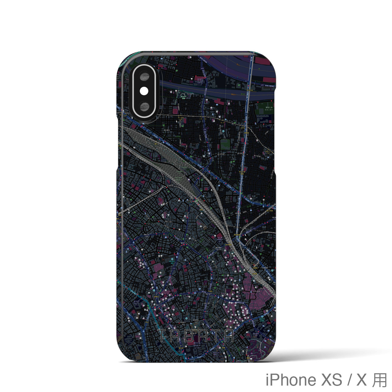 【田端】地図柄iPhoneケース(バックカバータイプ・ブラック)