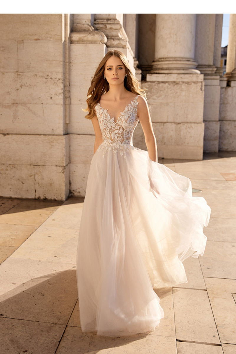 【DearWhite】ウェディングドレス Aライン プリンセス エンパイア デコルテ 結婚式 披露宴 二次会 パーティーウェディングドレス・カラードレス・サイズオーダー格安オーダーメイド DW00044