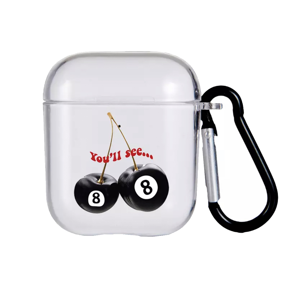 Cherry Eight Ball Clear AirPods Case