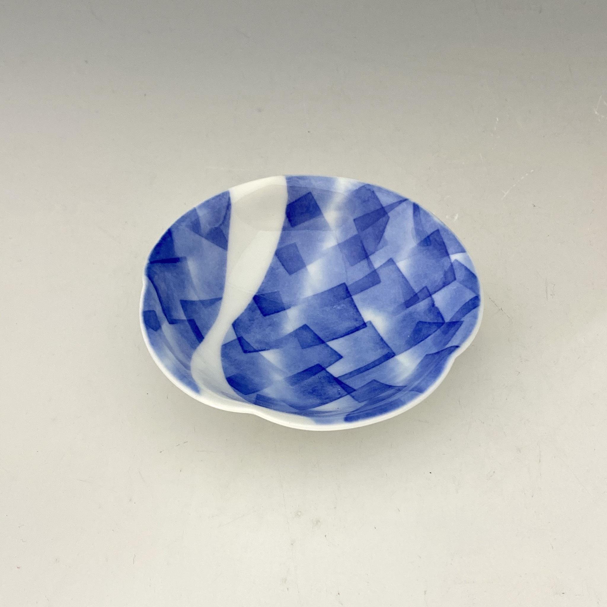 【中尾英純】和紙染角文豆皿