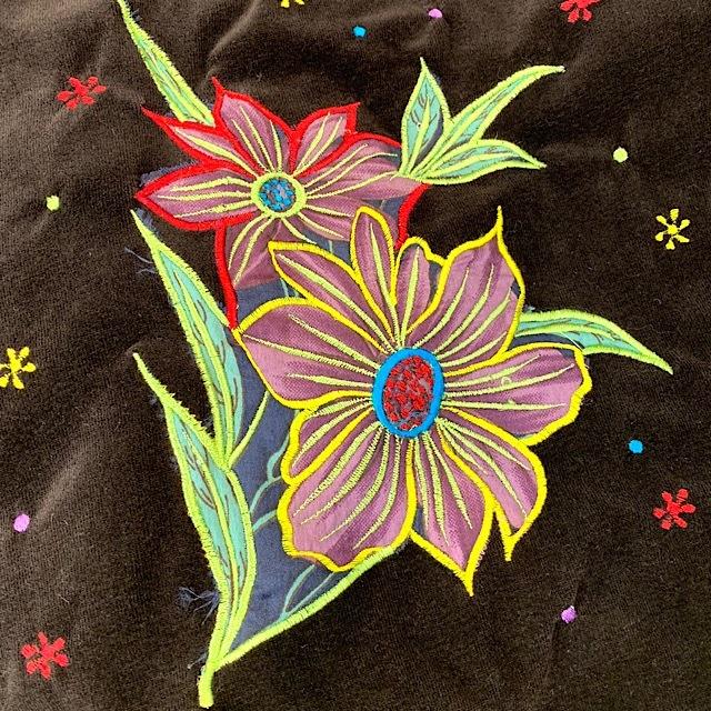EMS-028BR ベルベット刺繍×シルク巻スカート 茶