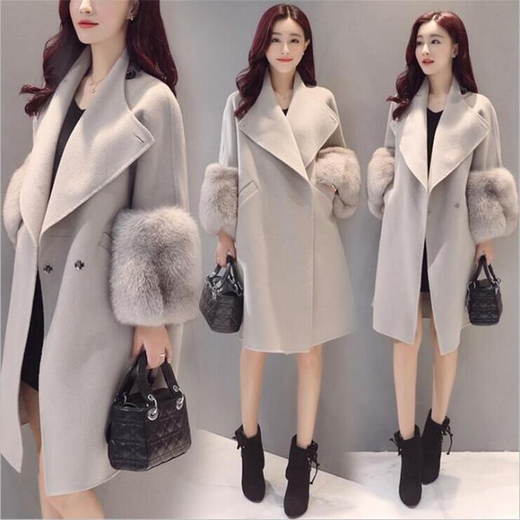 【アウター】無地長袖ファッション切り替えスタンドネックコート15357527