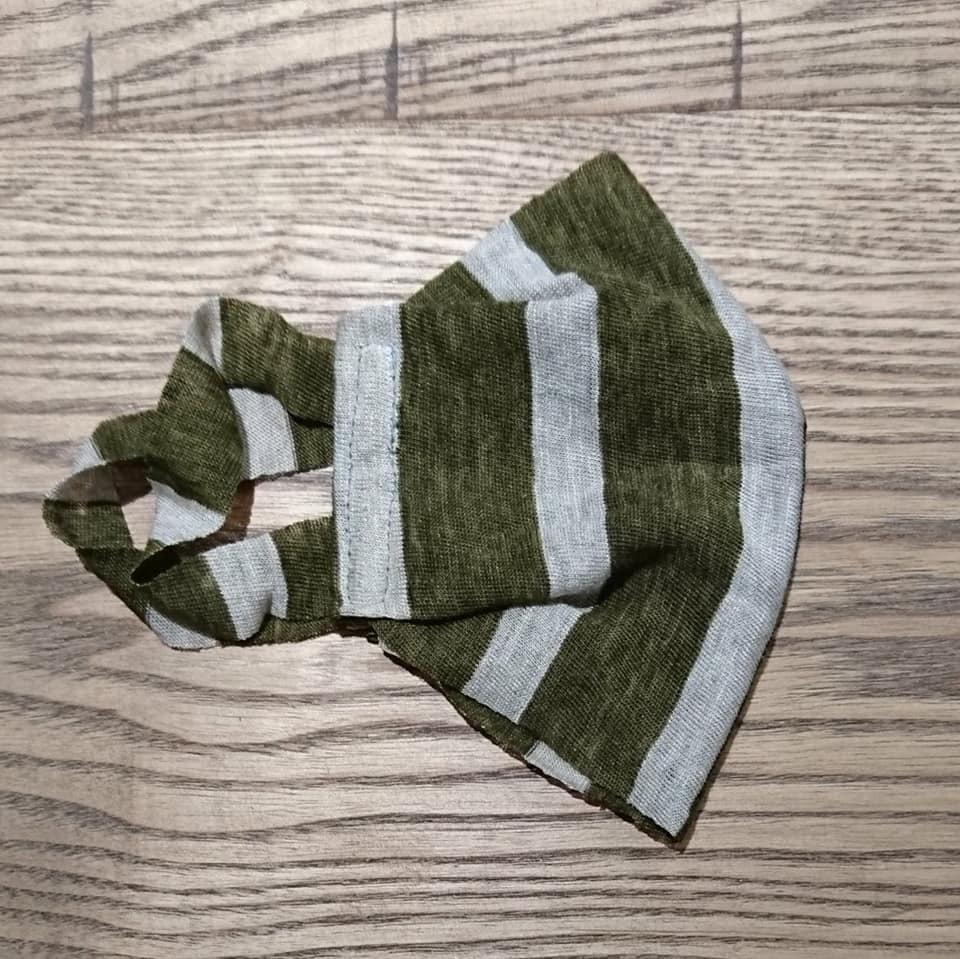 【2枚組】マスク麻ニット一重仕立て ストライプ カーキとベージュ