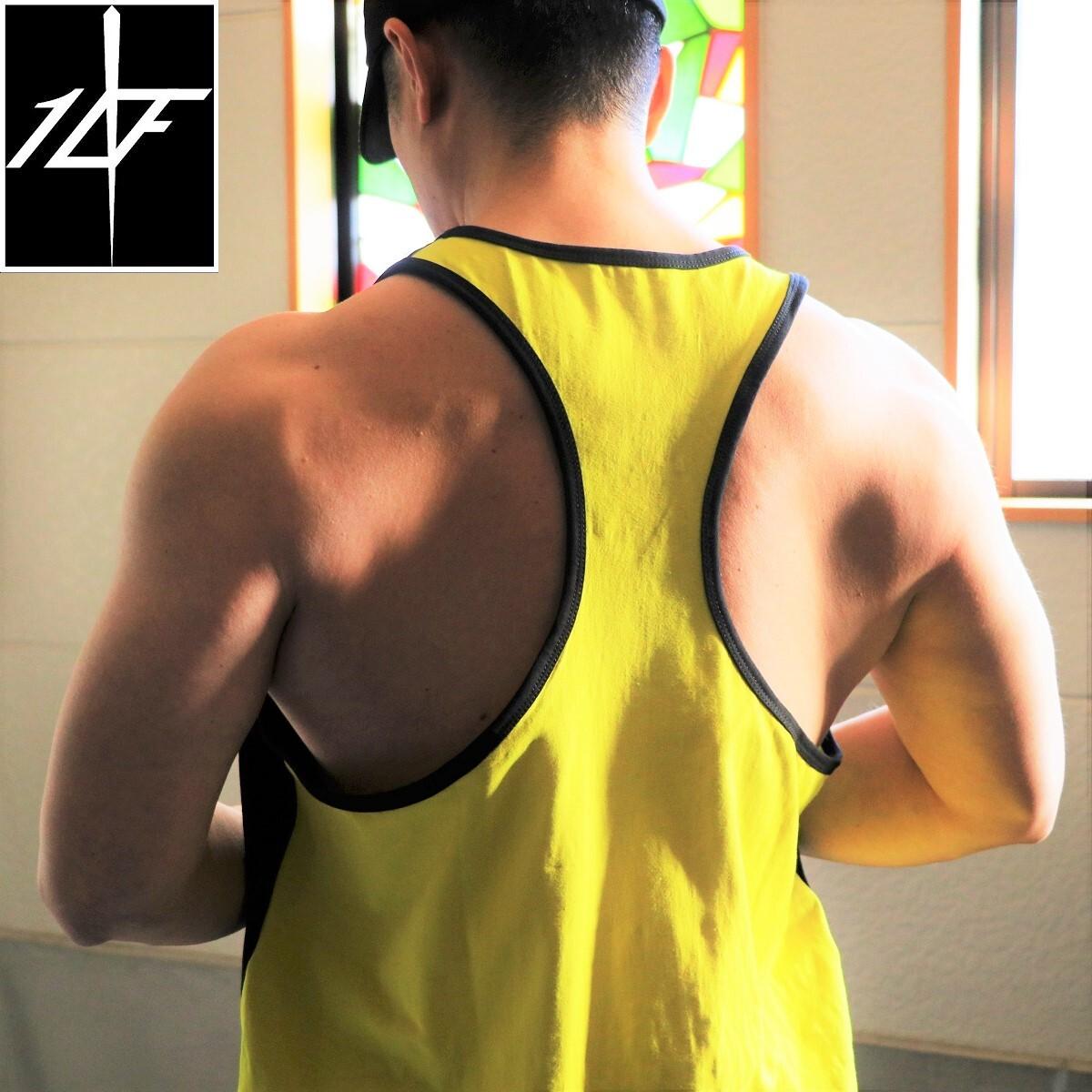 10FIT タンクトップ トレーニング 筋トレ ボディビル メンズ TT-13 黒黄