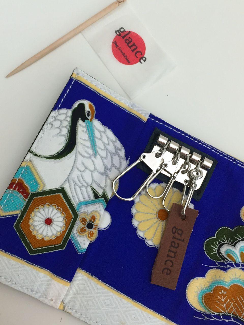 key case (鶴 crane) antique kimono