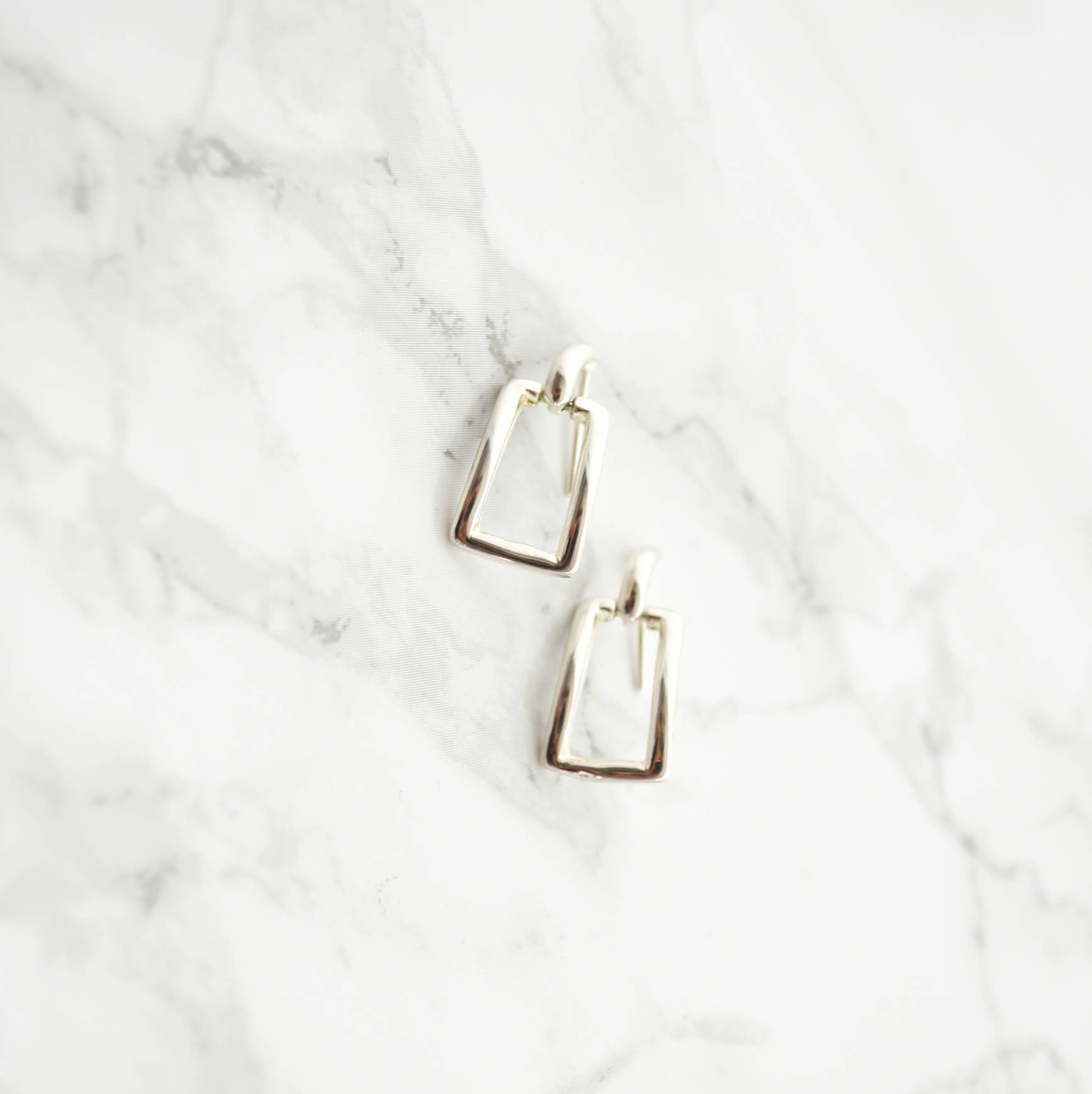 Rectangle Silver Pierces/Earrings