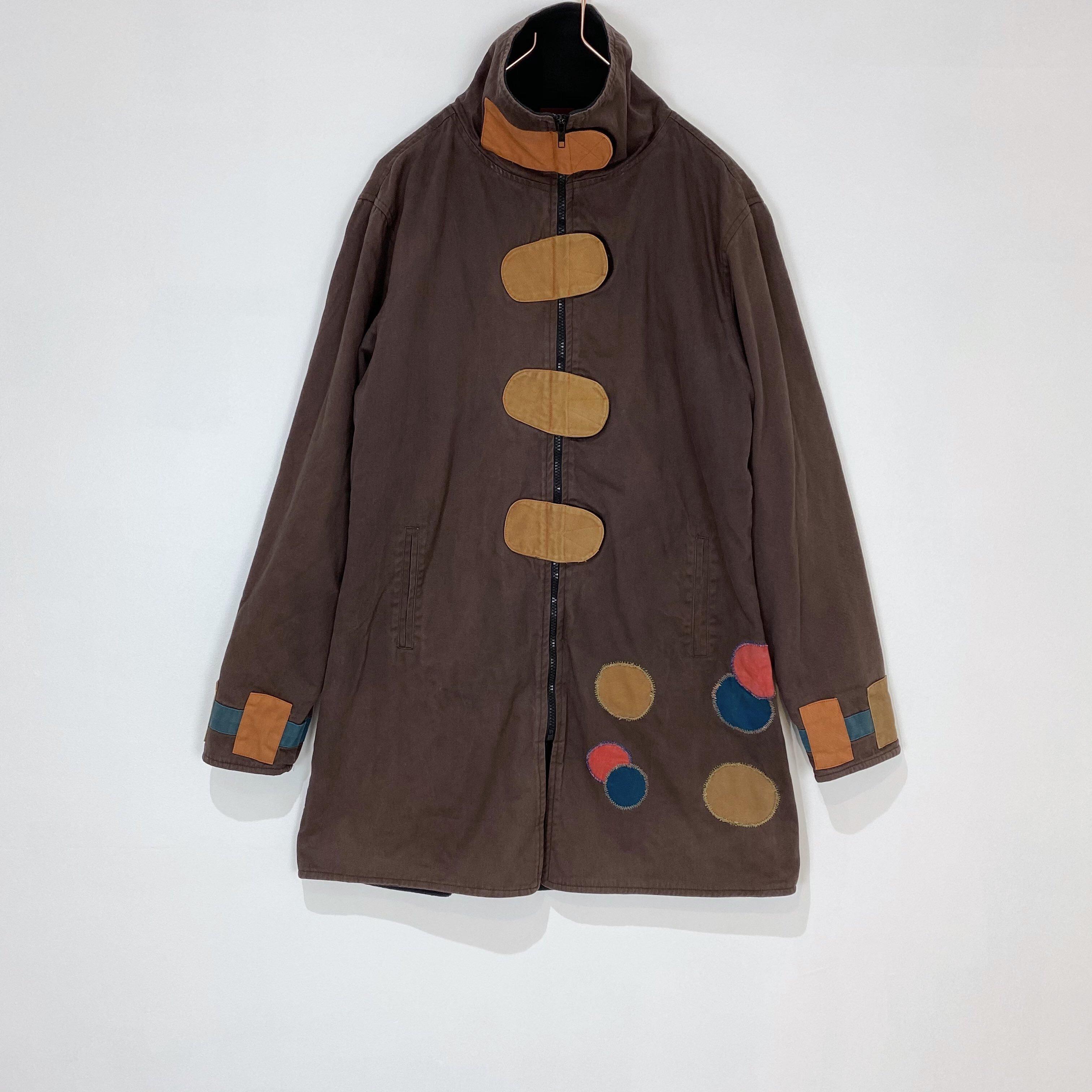 ◼︎80s vintage dots patchwork cotton × fleece zip coat from Finland◼︎
