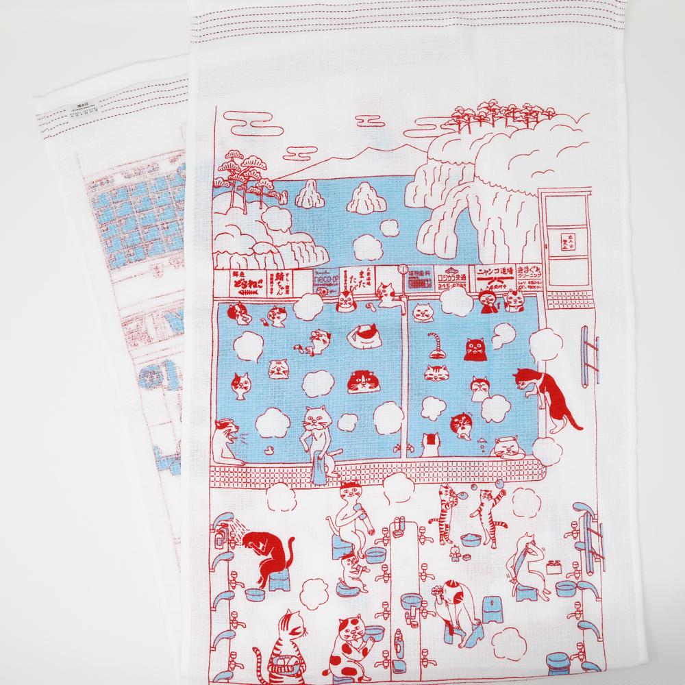猫タオル手拭い(タオルてぬぐい)猫ノ湯