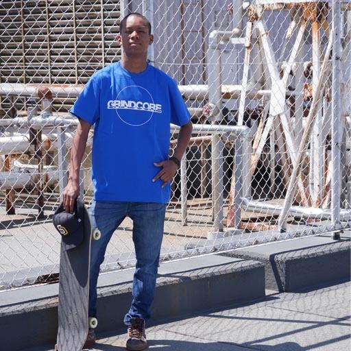 GRINDCORE Tシャツ ブルー×ホワイト