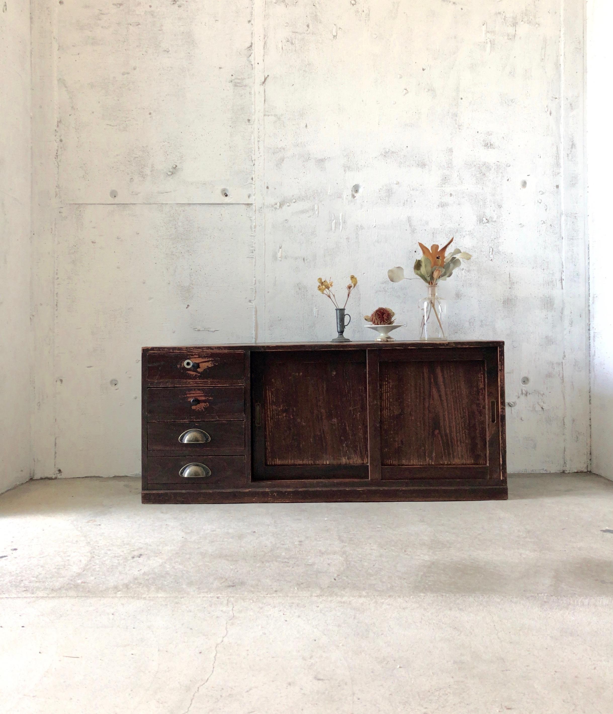 横長い収納棚[古家具]