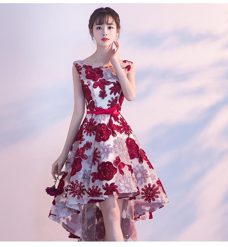 2edc2dc984db7 結婚式 パーティードレス フィッシュテール フレア ドレス 花柄 お色直し ワンピース 袖なし ミニ丈 膝丈 可愛い レッド 20代 韓国 G001