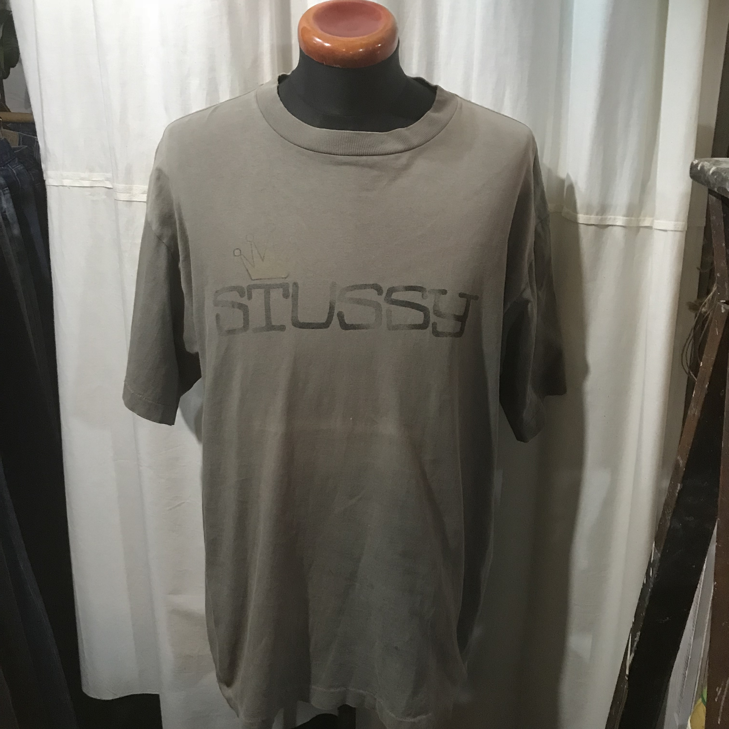 80's vintage アメリカ製 STUSSY 半袖Tシャツ 黒タグ 100%コットン メンズL~XL