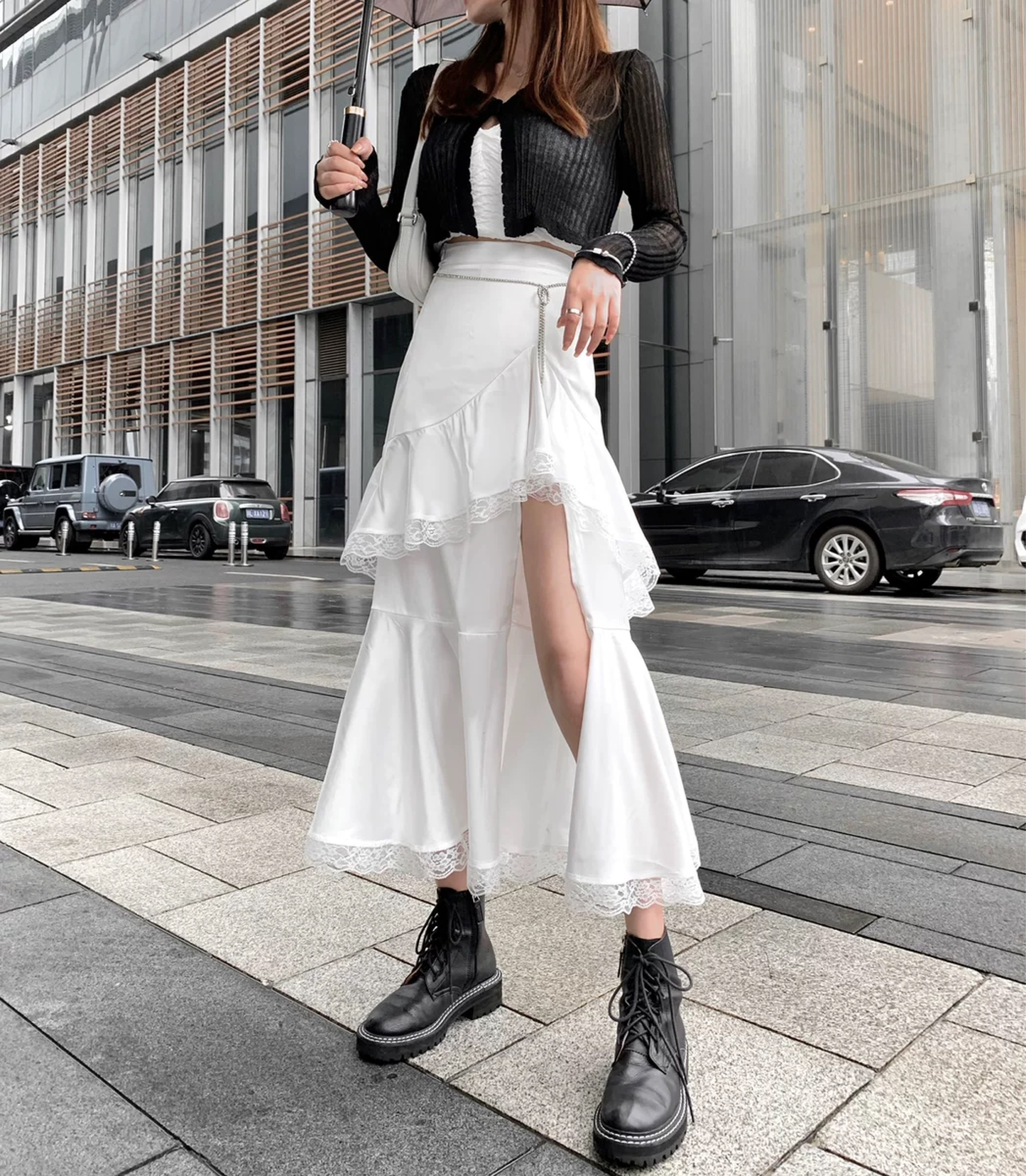 asymmetry flare long skirt