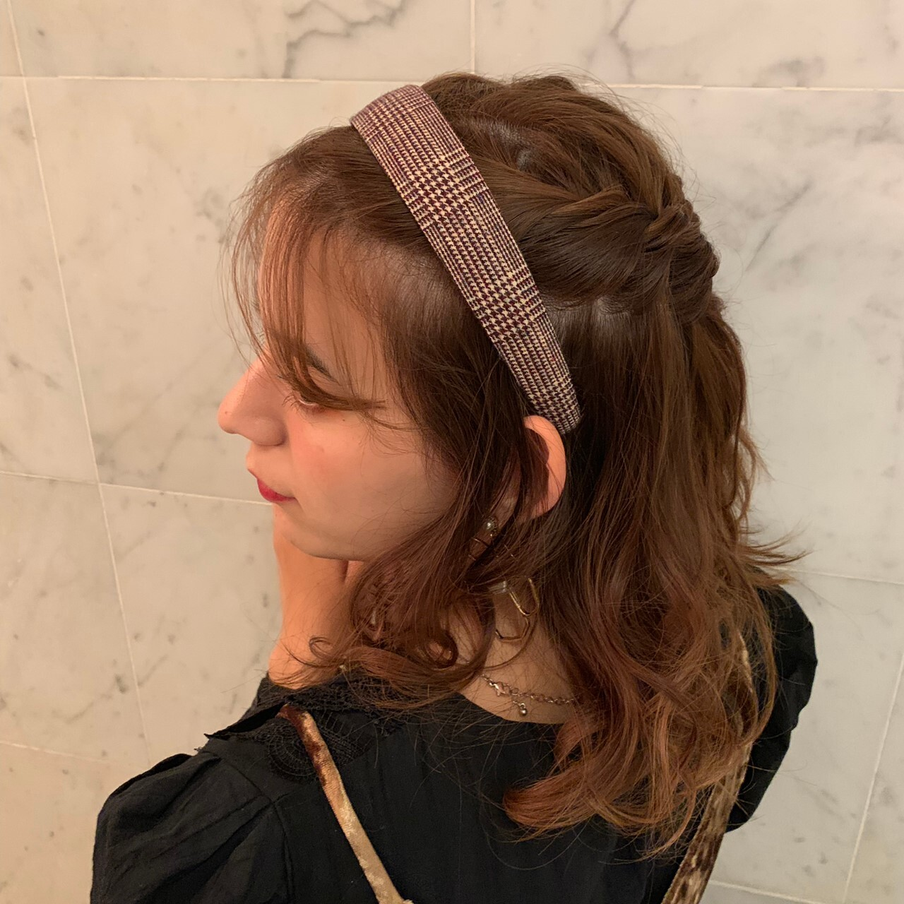 check hair accessory ( wide )