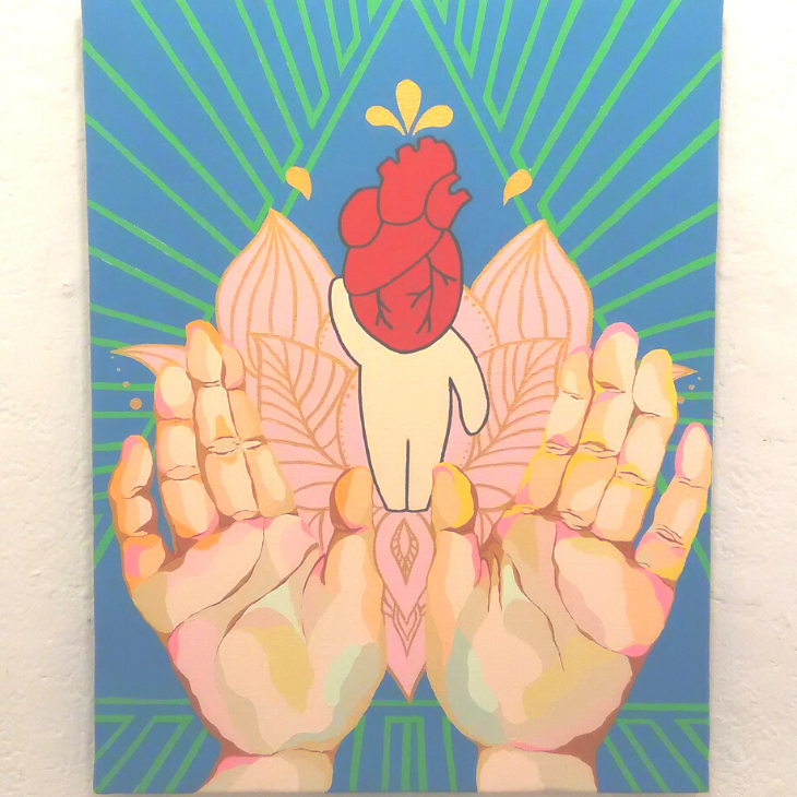BABY HEART HUMAN BUDDHA(2019) / 41cm×31.8cm / Acrylic painting / Original Drawing