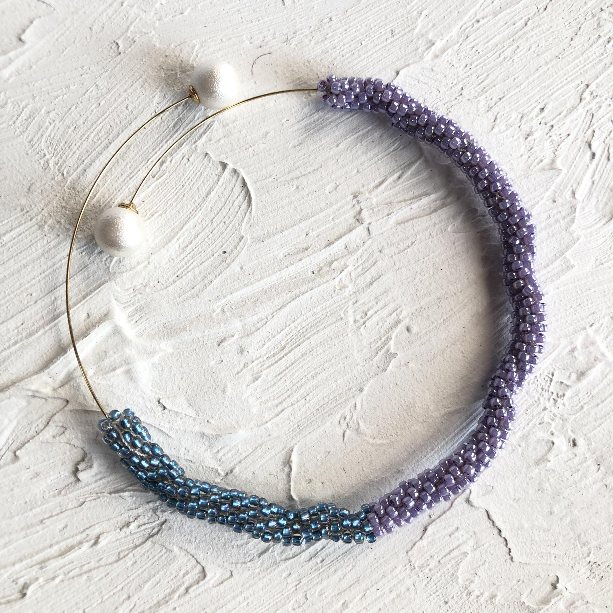 aK beads wire neckless 6 purple blure