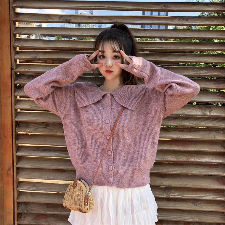 【送料無料】 ビッグカラーで小顔魅せ♡ ガーリー リブ ニット フィット カーディガン トップス 襟付き セーター