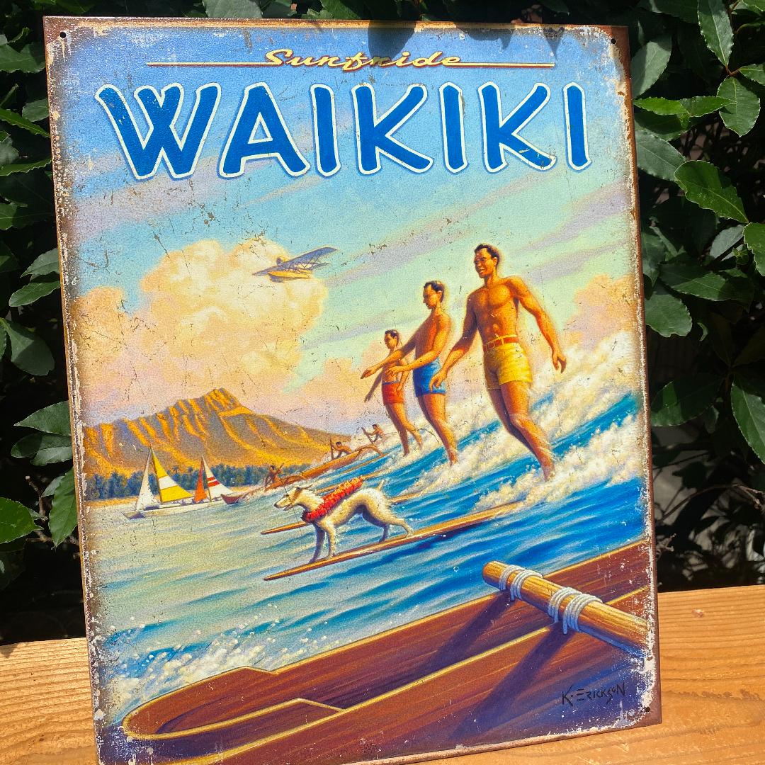 ワイキキ サーフィン ブリキ 看板 レトロな一品 ハワイアン 雑貨
