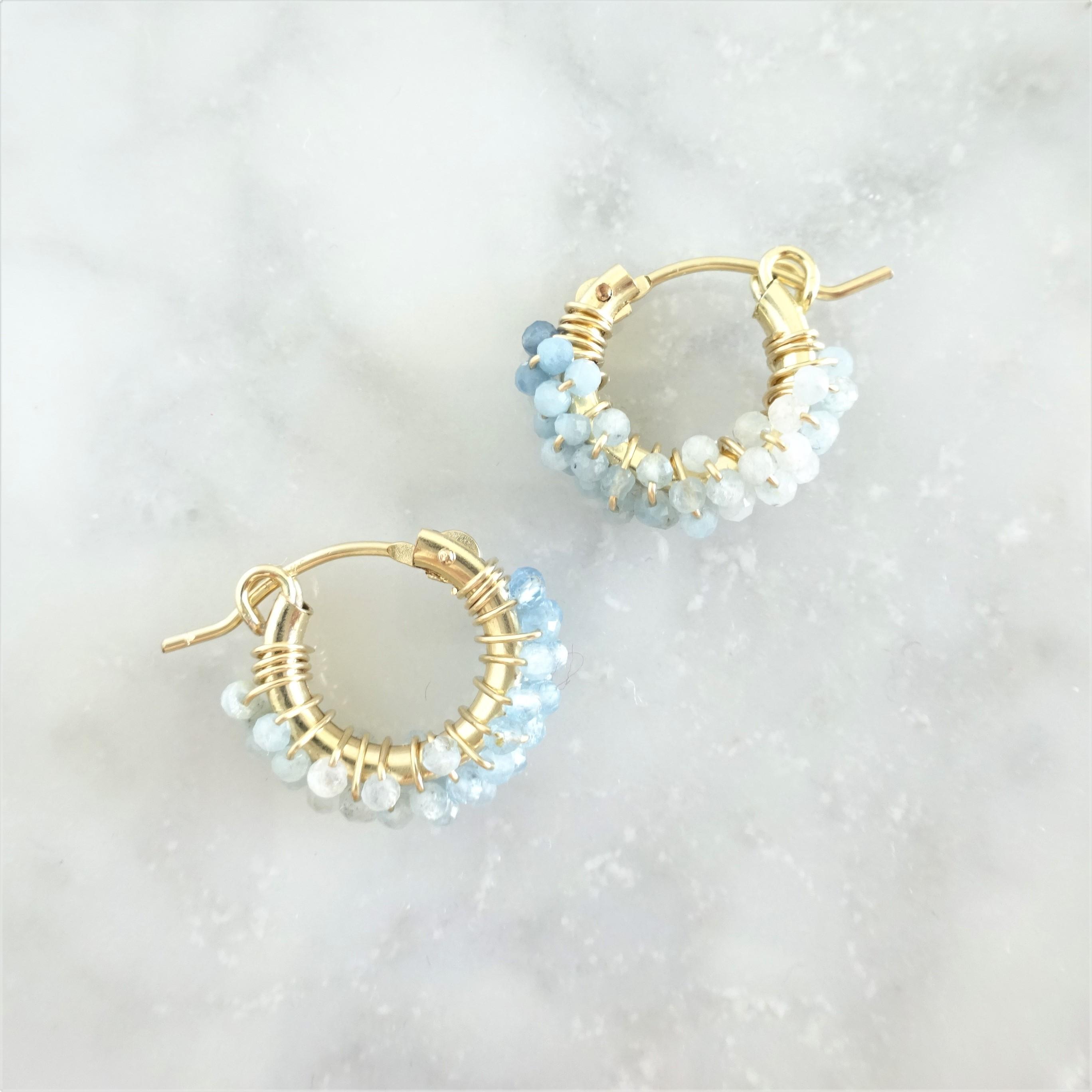 送料無料14kgf*Aquamarine pavé earring / pierced earringSS
