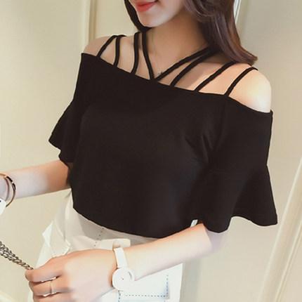 【tops】ファッションボートネック無地Tシャツ20379399