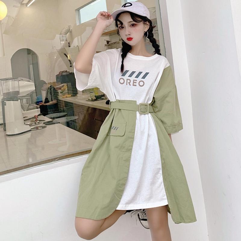 【dress】ファッション切り替えアルファベットデートワンピース21825495