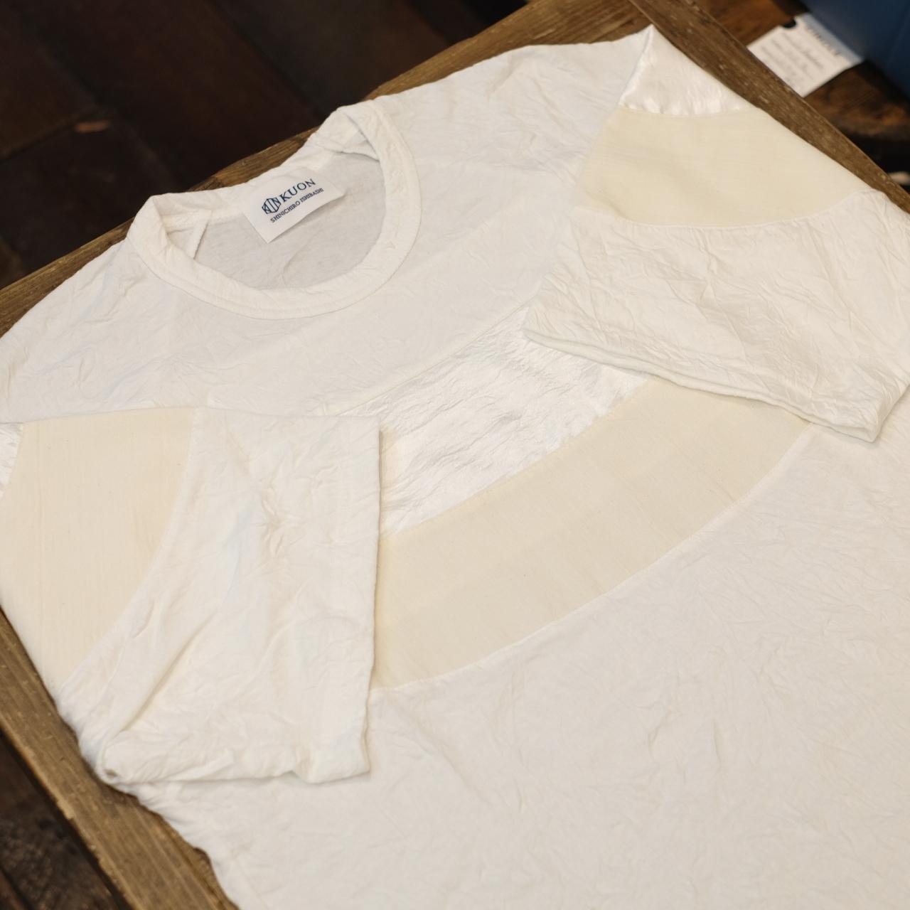 KUON(クオン) 和紙クレープ・アセテート キャップショルダーリンクルTシャツ ホワイト