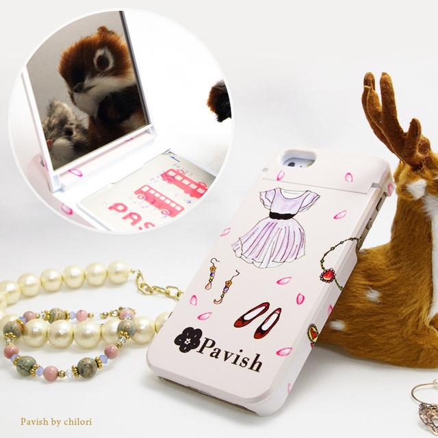 【ミラー付】iPhoneケース ★ICカードフォルダー搭載など多機能タイプ★恋愛運アップ(アクセサリー、ピンク)