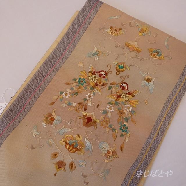 【F様ご予約品】正絹 ベージュに鴛鴦(おしどり)の刺繍の袋帯
