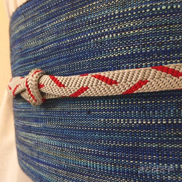 正絹 グレーに赤の平織りの帯締め