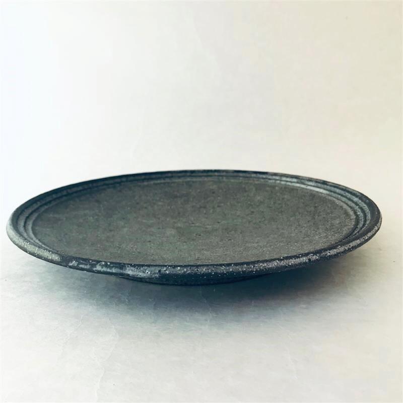 沖誠3-9 炭化ボーダー8寸皿