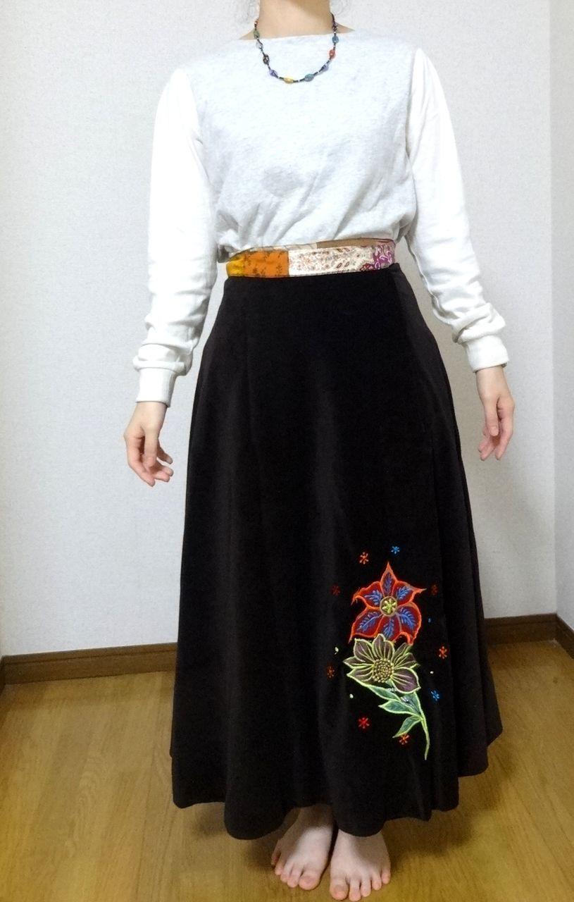 EMS-018BR ベルベット刺繍×シルク巻きスカート 茶色