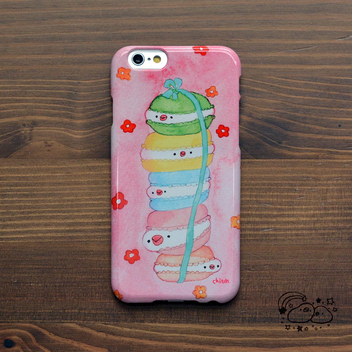 スマホケース iphone6s 白文鳥 白文鳥 グッズ 文鳥 スマホ 文鳥 グッズ ぴよマカロン/chitch