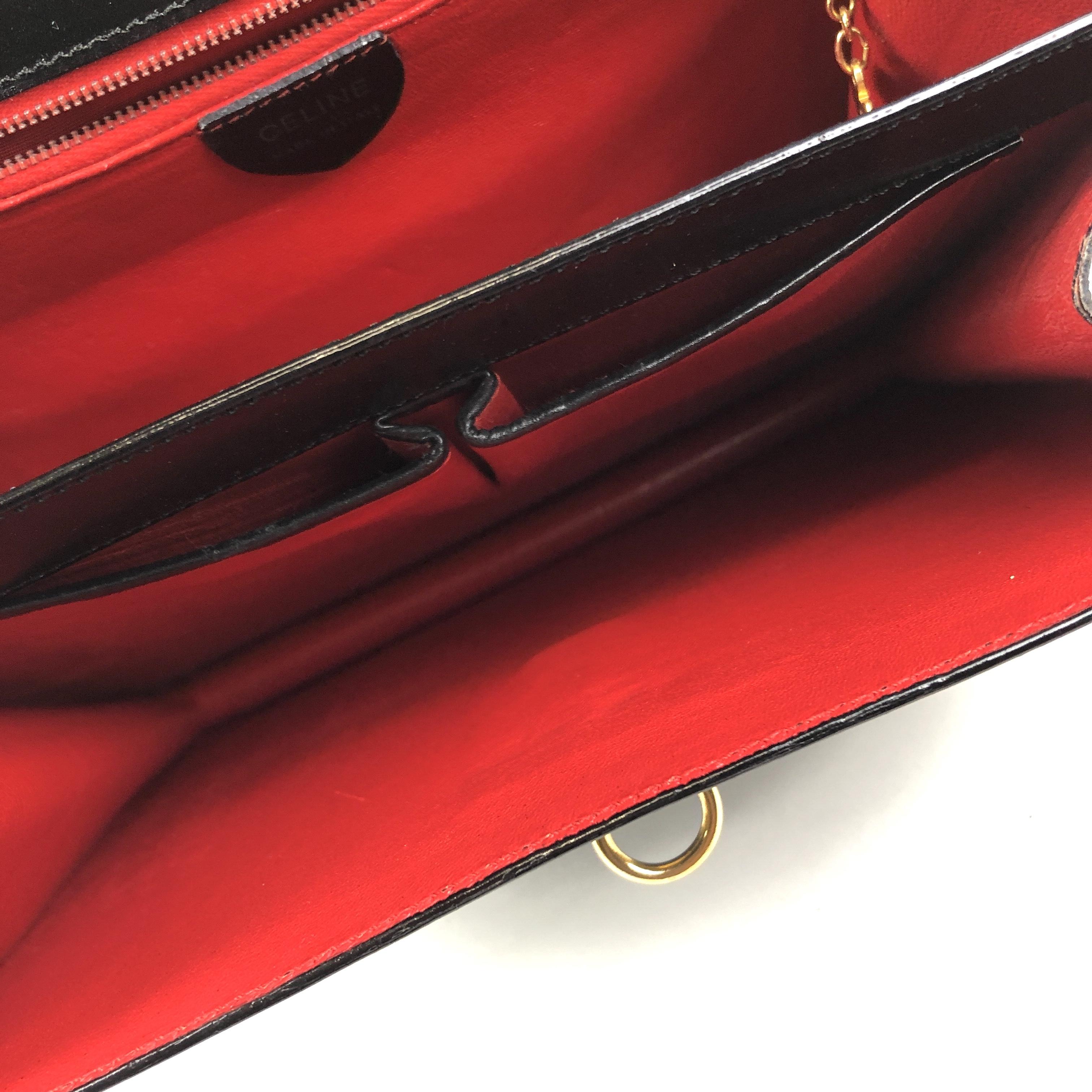 f5316ff48adc CELINE セリーヌ 3連チェーン ガンチーニ レザー ハンドバッグ ブラック vintage ヴィンテージ オールドセリーヌ マンテル