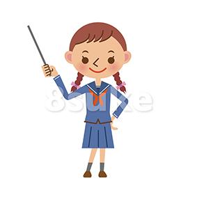 イラスト素材:指し棒で解説するセーラー服姿の女子中学生・高校生(ベクター・JPG)