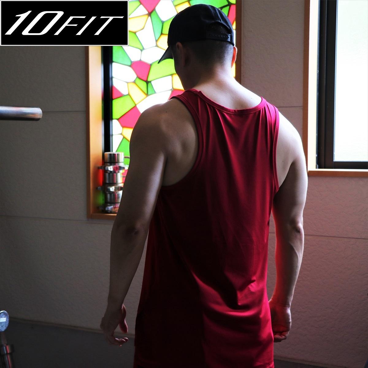 10FIT タンクトップ トレーニング 筋トレ ボディビル メンズ TE-16 ワインレッド ロング丈