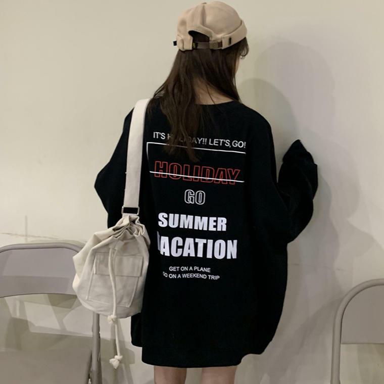 【送料無料】 ゆるだぼビッグシルエット♡ ロゴ バックプリント スウェット トレーナー プルオーバー オーバーサイズ