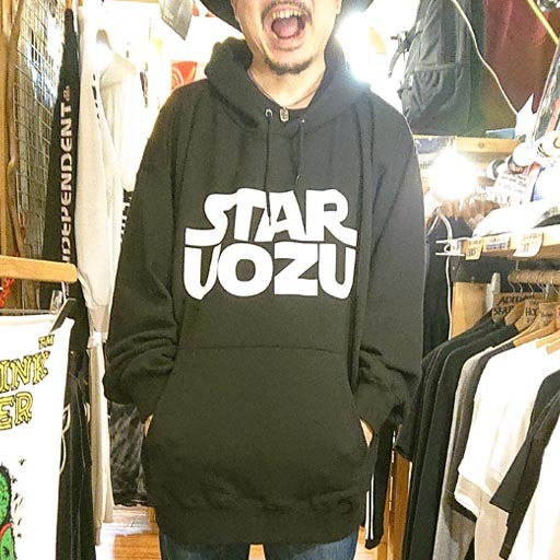 "STAR UOZU ""超BIGパーカー"" ブラック×ホワイト"