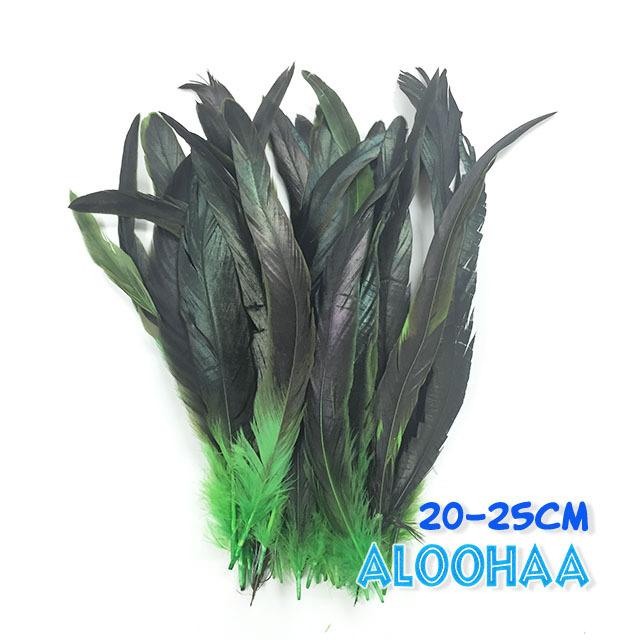 ロングフェザー 【グリーン】20-25cm タヒチアン 衣装 材料 ルースターテール 染め 羽根