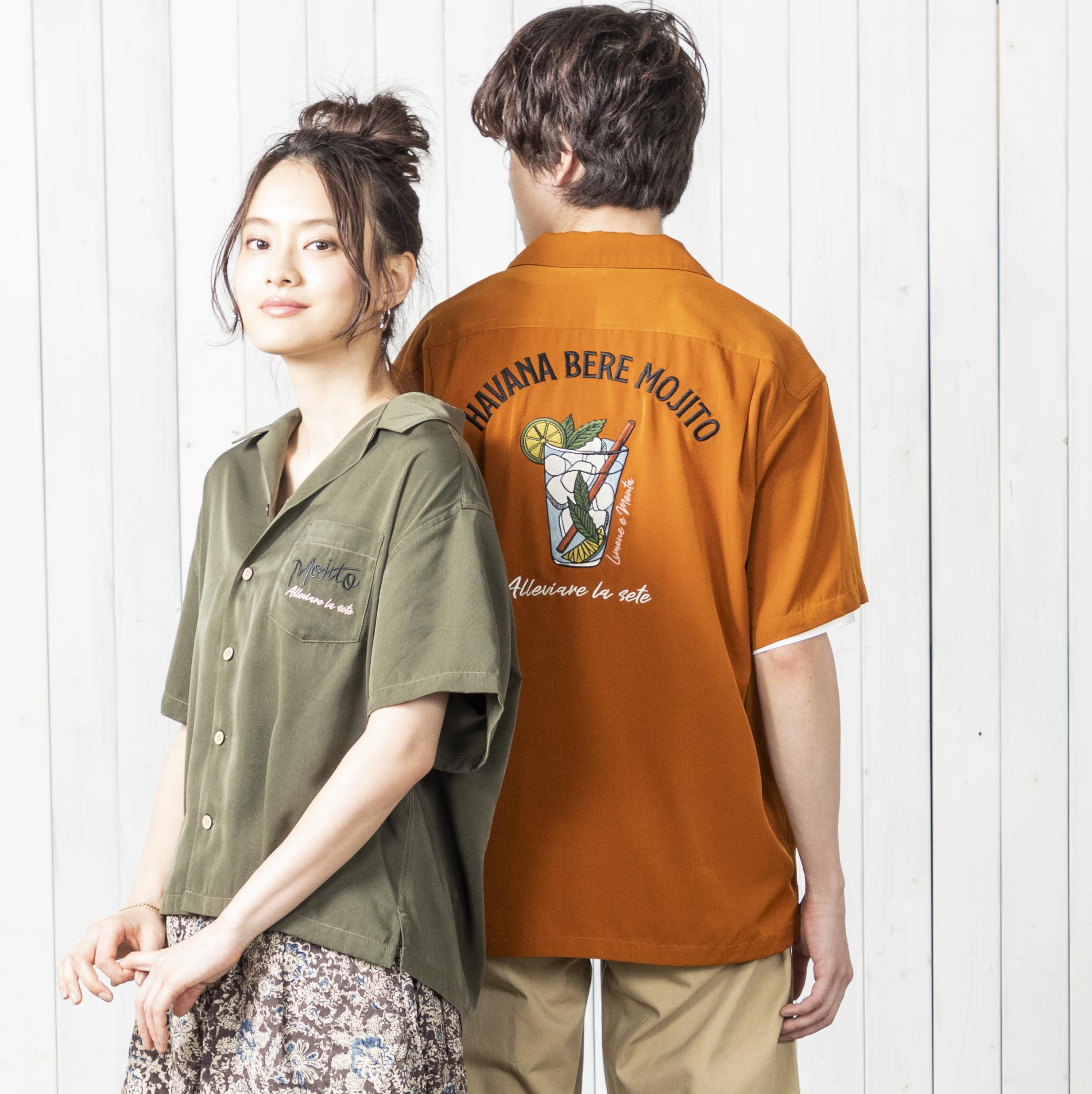 【UNISEX】MOJITO柄刺繍開襟シャツ NO0512118