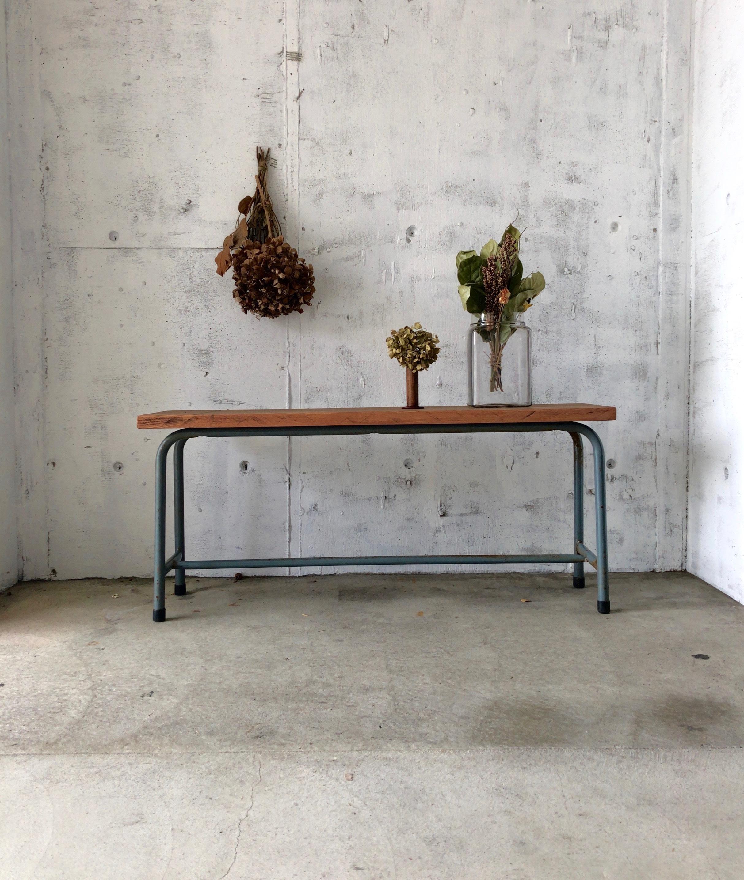 古材×アイアン脚のベンチ[古家具]