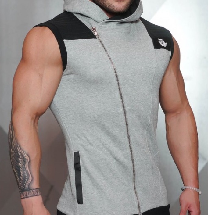 BODY ENGINERS YUREI Sleeveless vest – LIGHT GREY & BLACK ACCENTS