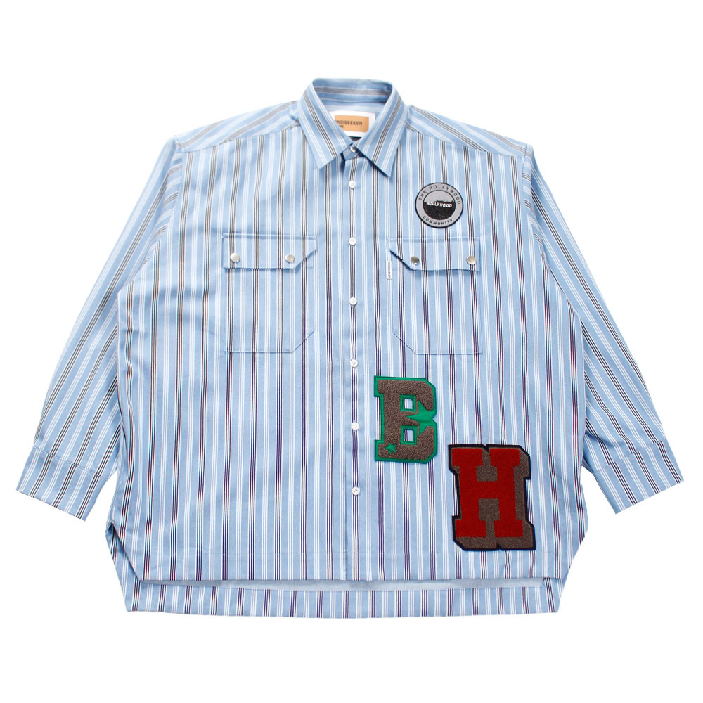 MINDSEEKER Overfit Stripe Denim Shirt