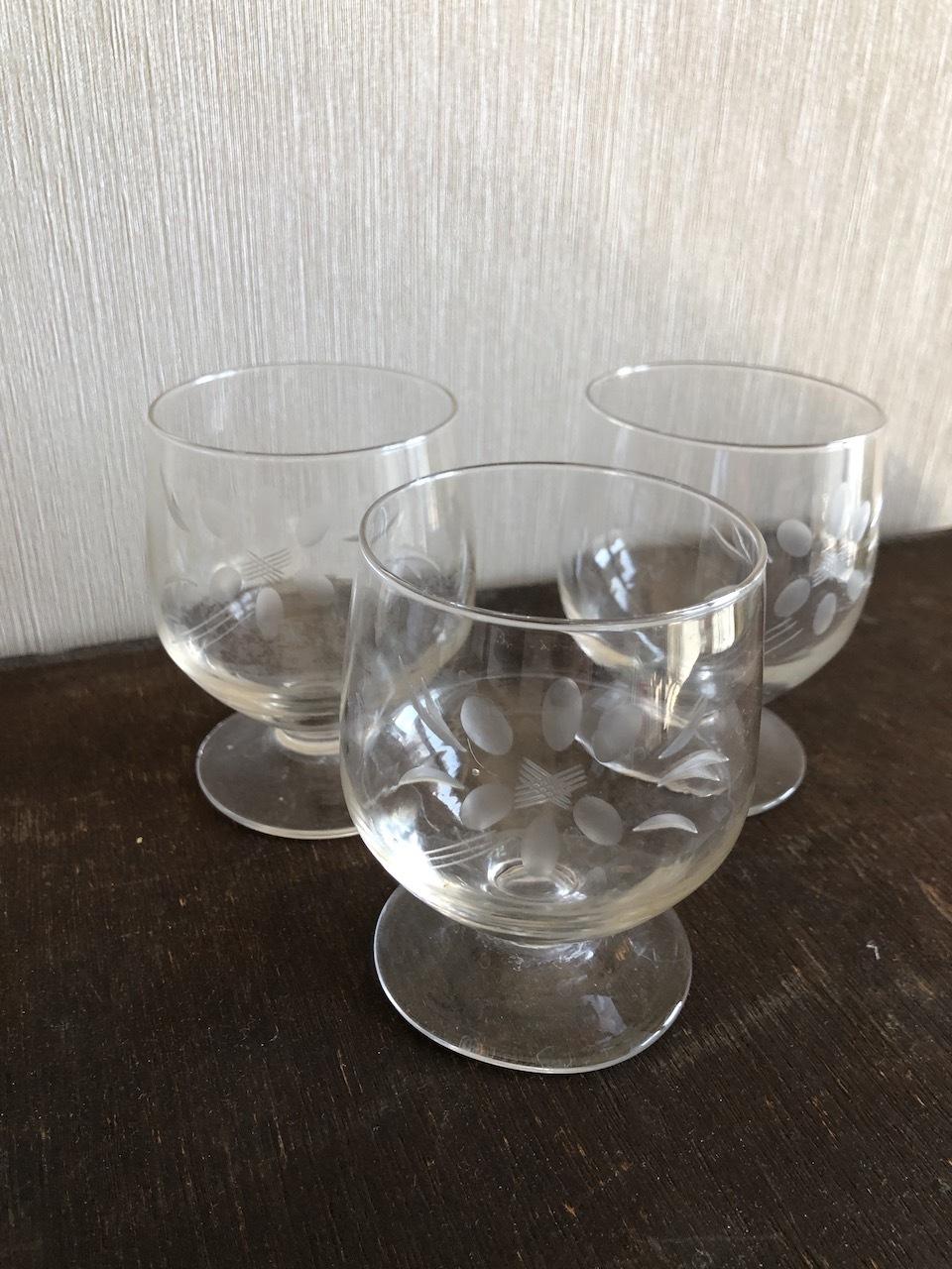 Paris 1920年代アール・デコ 花柄切子グラス