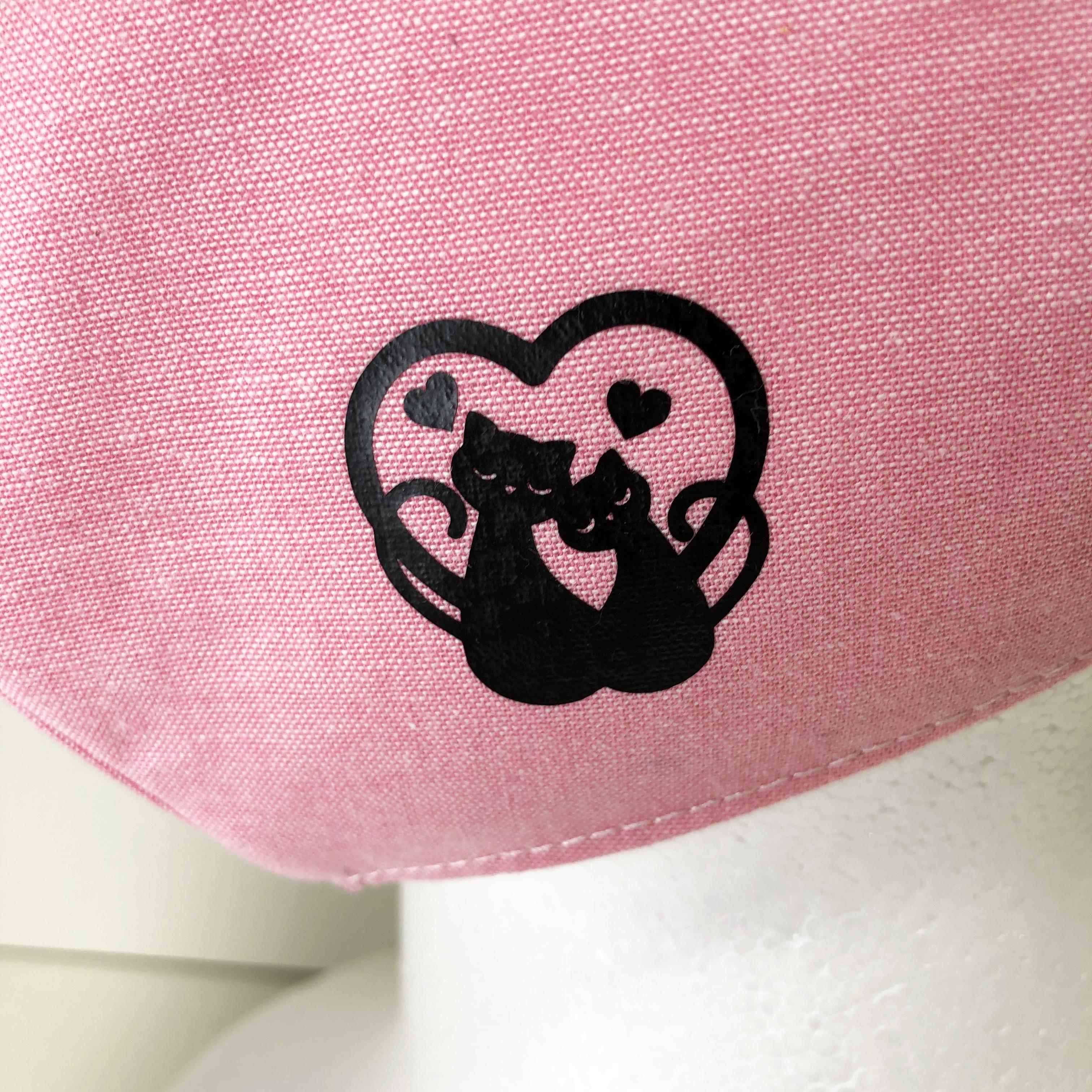 立体マスク 猫 ピンク ハート LOVE 布マスク 大人サイズ ゴム紐使用