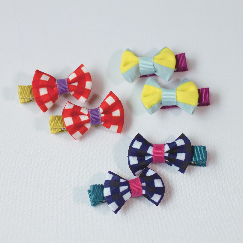 wacco×Neige accessories.リボンヘアクリップ チェック&ストライプ
