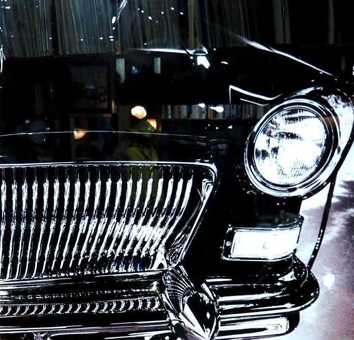 品番0046 新品 ガラスア―ト 9004 『クラシックカー』 額装 壁飾り 飾り板 インテリア アメリカン雑貨